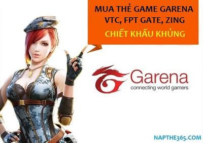 Mua thẻ game Garena, VTC, FPT Gate, Zing nhanh tại Napthe365.com